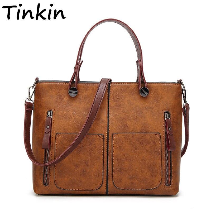 Bolso de hombro Vintage Tinkin para mujer, bolsos casuales femeninos para compras diarias, bolso para damas de alta calidad