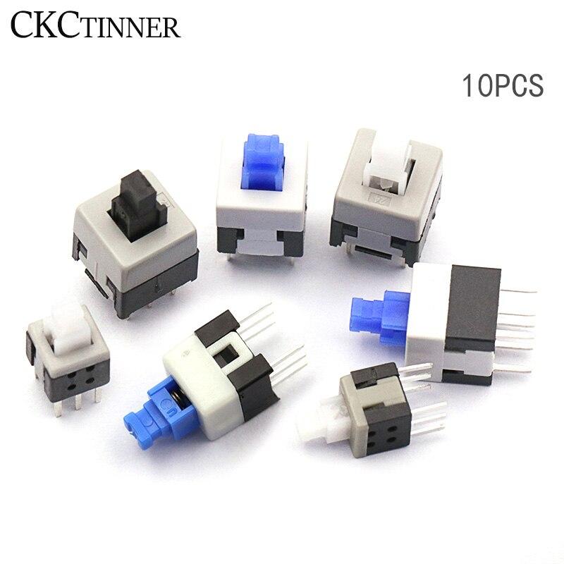 10 unids/lote 5,8*5,8 7*7 8*8*8,5*8,5mm auto bloqueo Push Tactile de Micro interruptor Kit 6 Pin de botón