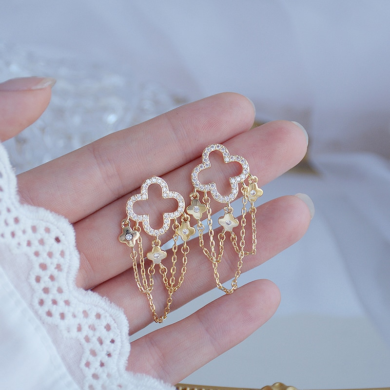 Encantadores pendientes de borla de estilo largo DE ORO Real de 14K para señora elegantes pendientes de gota de Zirconia Feminia magníficos accesorios de joyería