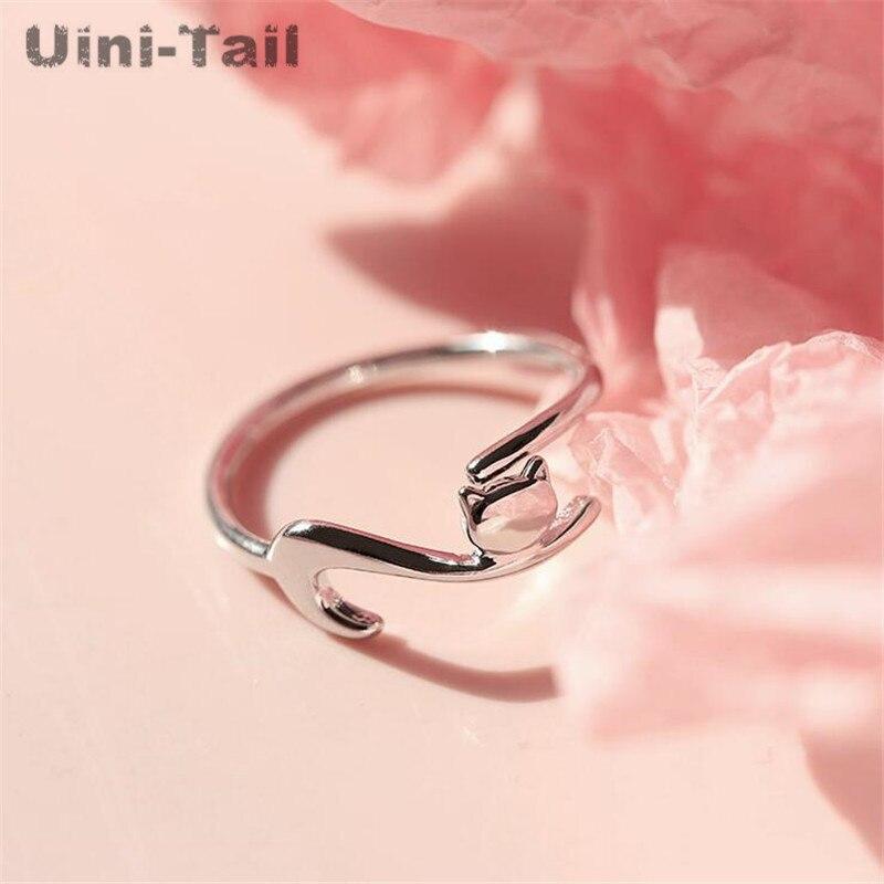 Uini-tai Venta caliente nuevo 925 plata esterlina gato perezoso estrella abierto anillo de moda diseño creativo de alta calidad accesorios para estudiantes