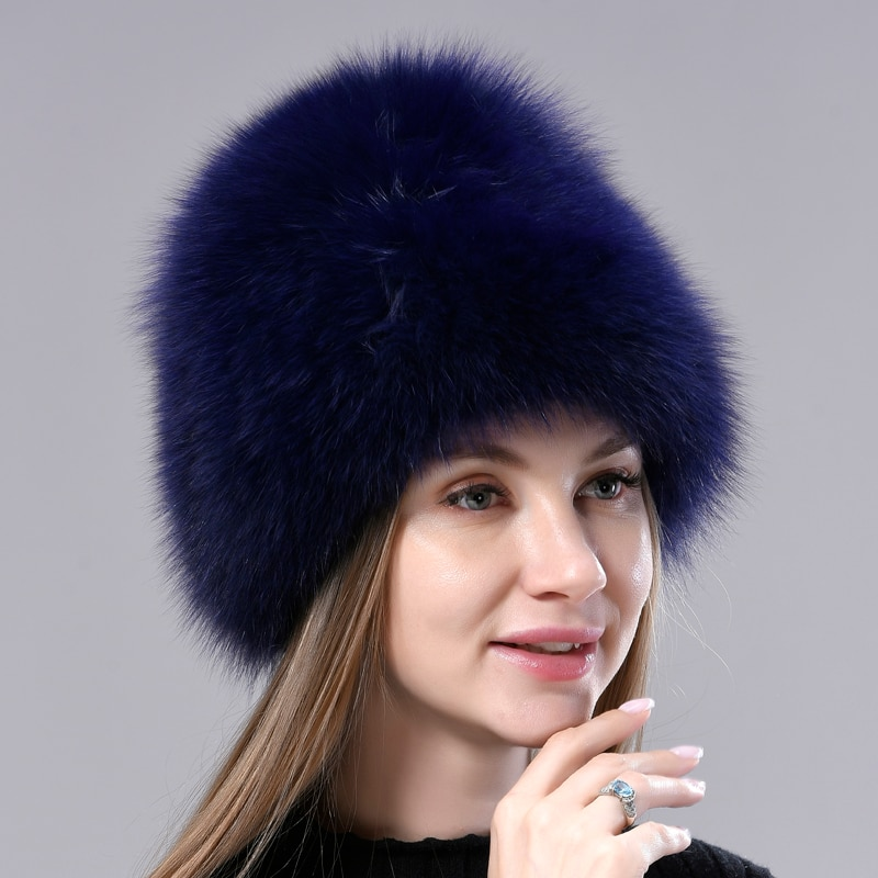 Winter Hats for Women Natural Fox fur Knitted Beanies Female Fashion Fluffy Fur Hats Warm Thick Head