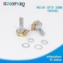 5 PCS/LOT B500K 500K OHM WH148 3Pin simple potentiomètre rotatif Pots arbre 20MM avec écrous et cale