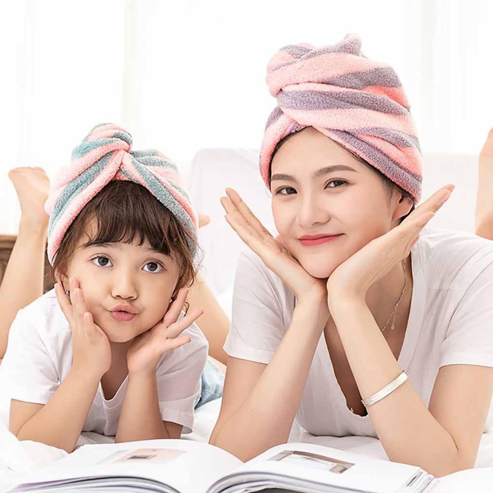 Microfiber Bath Towel Hair Dry Quick Drying Lady Bath towel soft shower cap hat for lady man Turban Head Wrap Bathing Tools A10