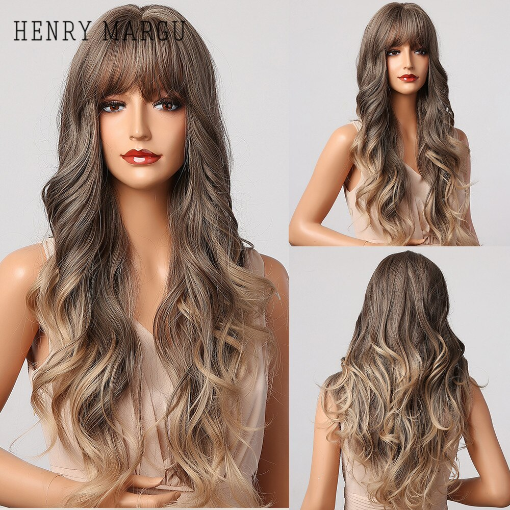HENRY MARGU Long Wavy Ombre Brown Blonde Wigs with Bangs Natural Synthetic Wigs for Women Heat Resistant Daily Cosplay Hair Wig