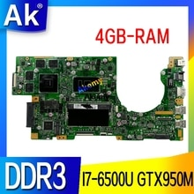 SAMXINNO K501UX carte mère Dordinateur Portable pour ASUS K501UB K501U carte mère dorigine DDR3 4GB-RAM I7-6500U GTX950M