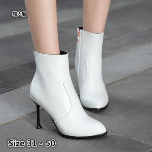 Woman High Heel Ankle Boots High Heels Women Shoes Spring Autumn Chelsea Short Boots Booties Small Big Size 31 - 50