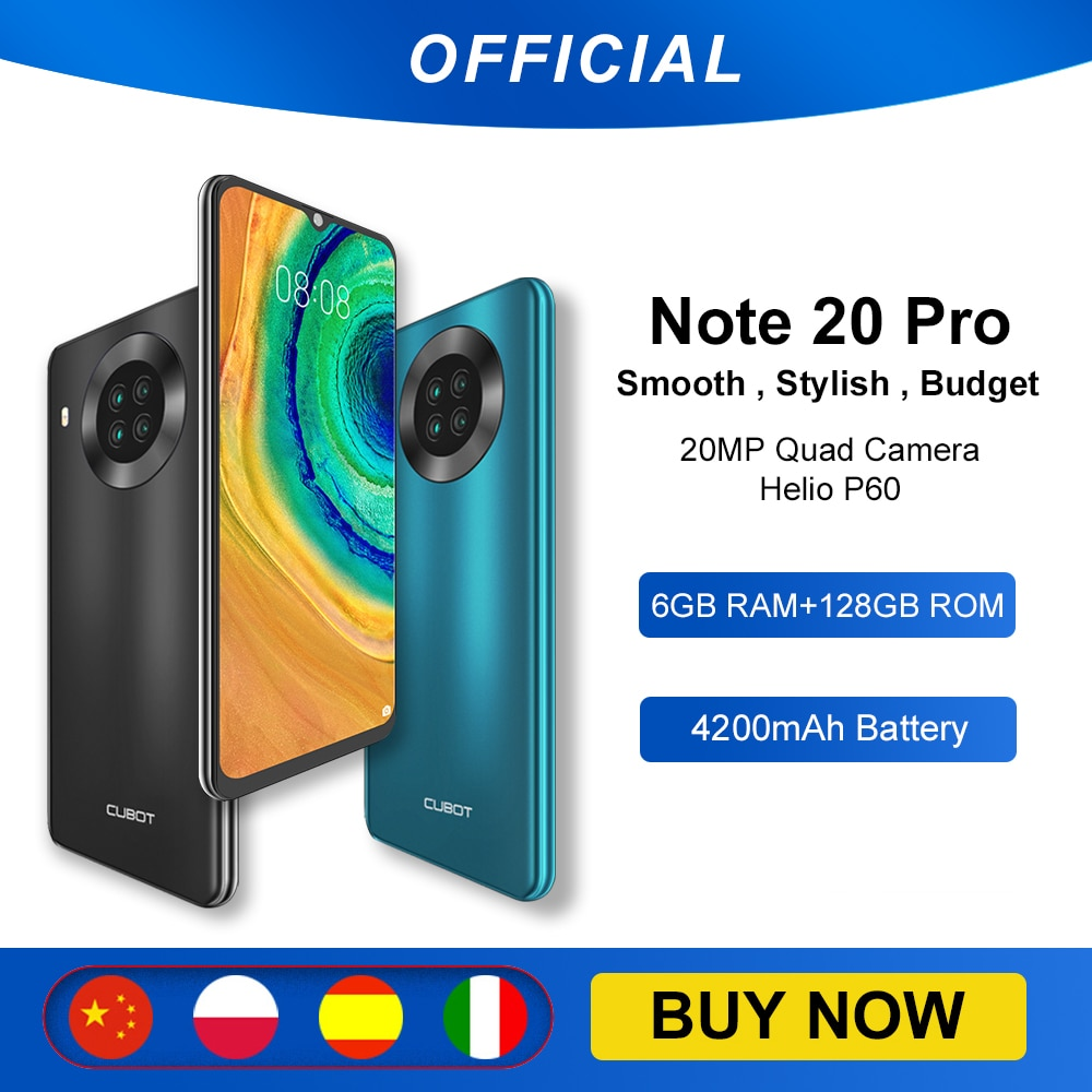 Cubot Note 20 Proملاحظة 20 برو رباعية كاميرا الهاتف الذكي NFC 6GB/8GB RAM + 128GB ROM 6.5
