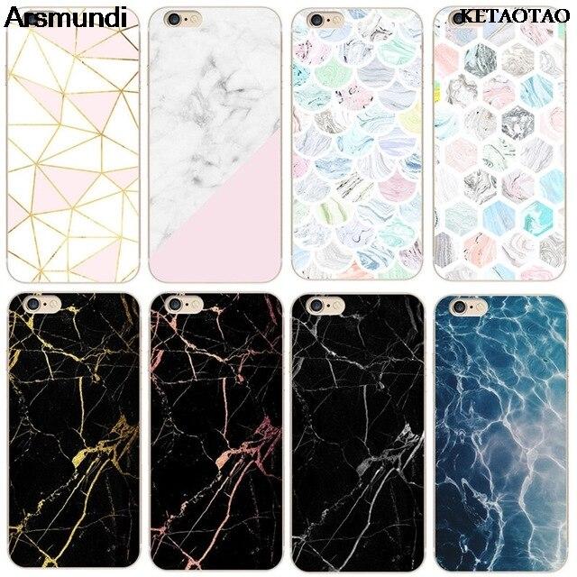 Fundas de teléfono de piedra de mármol exfoliante de granito KETAOTAO para iPhone 4S/5C/55/6/6S/7/8/X/PLUS, carcasa transparente de TPU suave