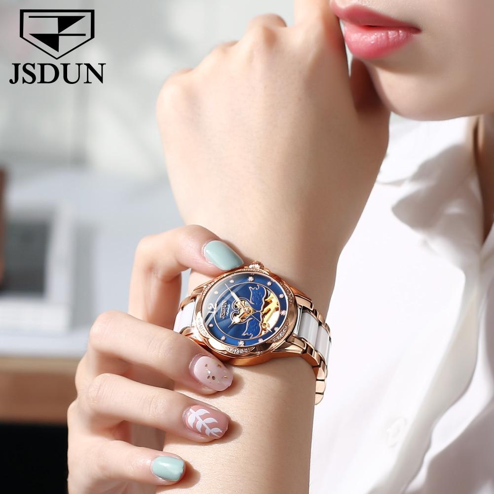 Hot selling fashion swan semi-hollow waterproof niche mechanical ladies watch Stainless steel ceramic bracelet, warm, comfortabl enlarge