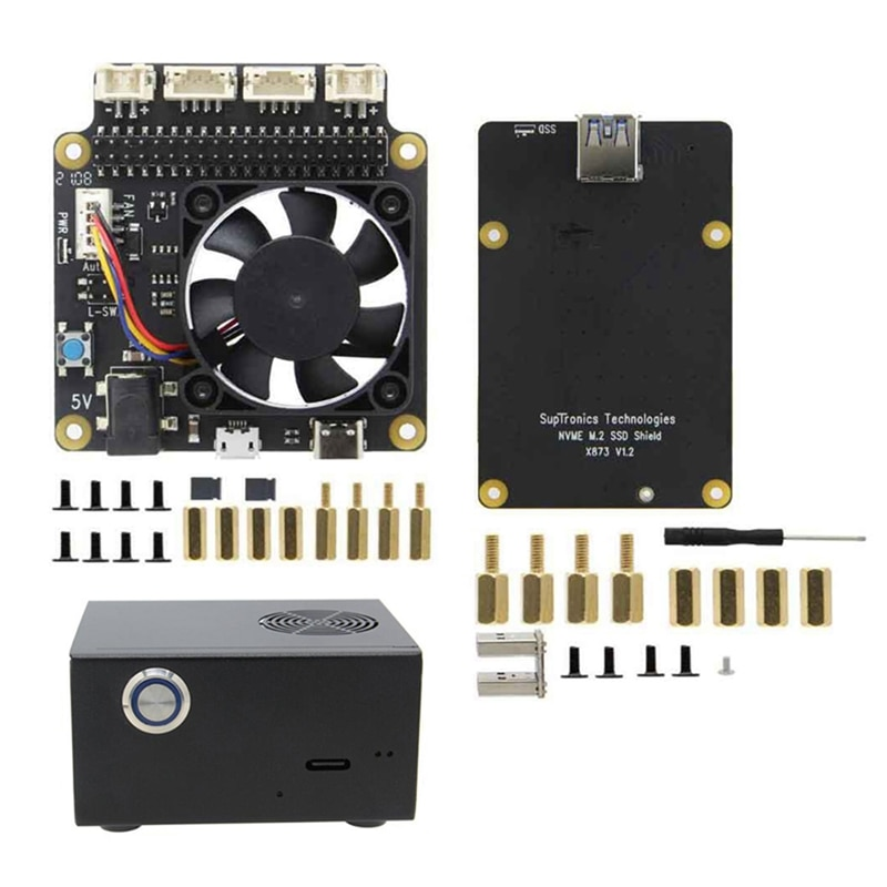 X873 V1.2 NVME M.2 Expansion Board+X735 V2.5 Power Management&PWM Cooling Fan Board with Metal Case for Raspberry Pi 4B