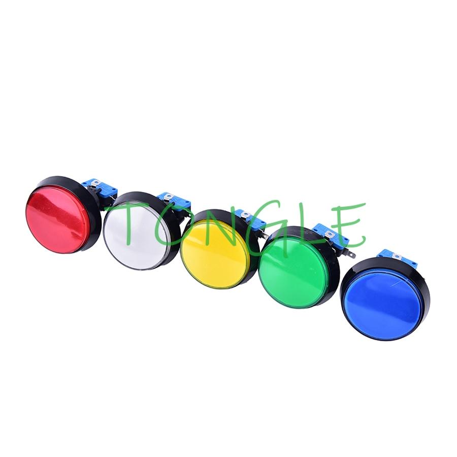 Botón con iluminación LED de 12V, 10 Uds., botón de 60mm con microinterruptor, botón de juego de Arcade DIY