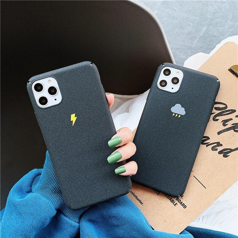 Funda coreana para teléfono móvil Thundercloud Lightning couple para iPhone 6S 7 8Plus X XR XSMAX 11 matte hard PC funda trasera para teléfono móvil