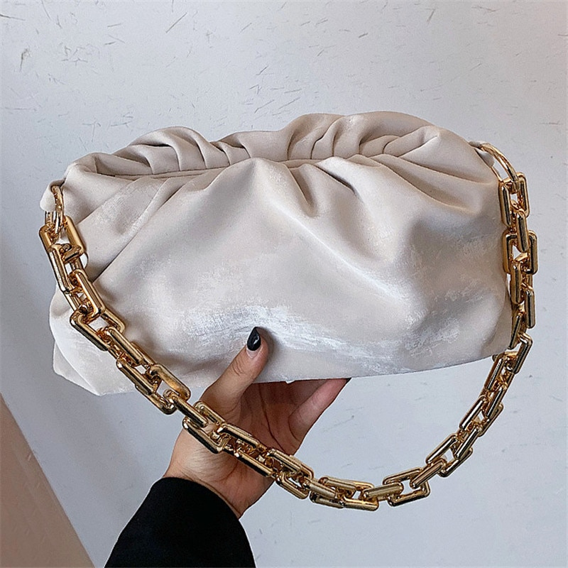 Luxury Design Cloud Armpit Shoulder Bag for Women Gold Chain Handbag 2021 Fashion Casual Totes Ladies Clutches Female Purses