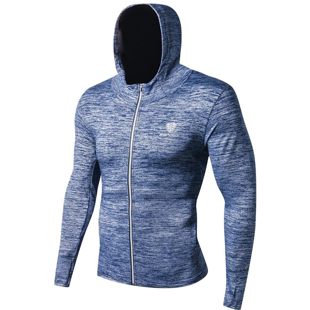 Otoño Invierno hombres Fitness abrigo chaqueta de manga larga al aire libre deporte secado de ropa rápida baloncesto Running entrenamiento Trekking