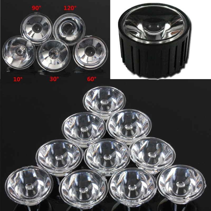 10 יחסט 20mm 10/30/60/90/120 תואר אופטי זכוכית LED עדשת רפלקטור Collimator עבור 1W 3W 5W LED אור מנורת הנורה E27 MR16 GU10