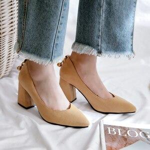 Plus Size 34-48 Women Pumps Casual Thick Heel Women Shoes Square Toe Mid Heels Dress Work Pumps Comfortable Ladies Shoes Sandals