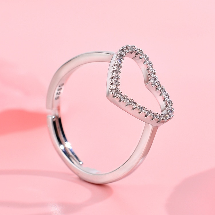 925 Sterling Silver Heart Shape Rings for Women Adjustable Ring S925 Jewlery