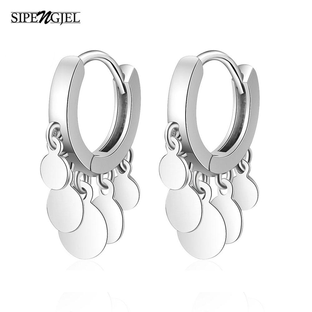 aliexpress.com - SIPENGJEL Trendy Silver color Tassel hoop Earrings Engagement pendant Earrings For Women Accessorie Jewelry Gift 2021