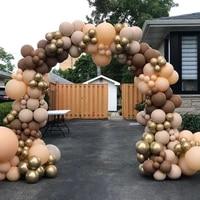 114pcs cream coffee khaki brown color balloons garland arch kit latex globos baby shower supplies birthday wedding party decors