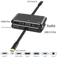USB C HDMI VGA adapter usb c hub usb3.0 usbc lading 3.5mm aux jack kabel Multipoort converter voor macbook pro dell huawei p20
