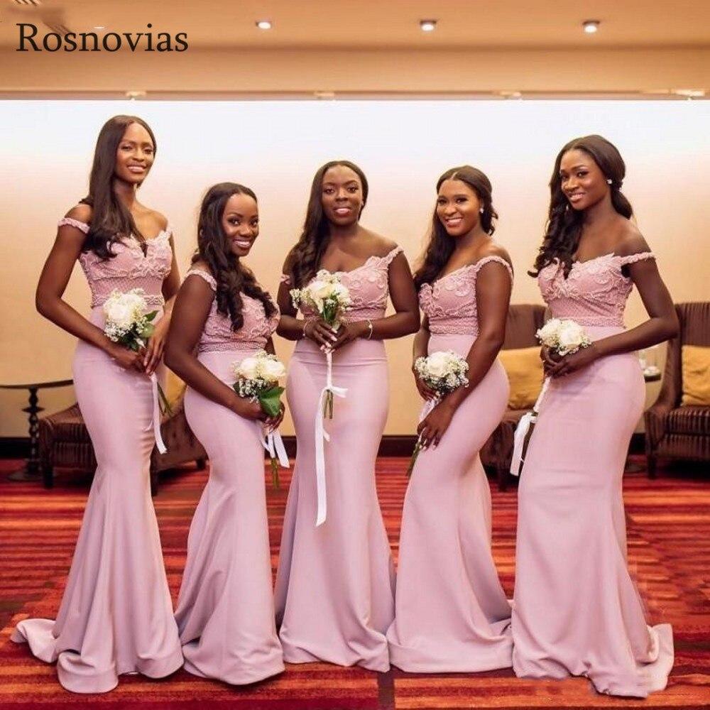 Vestidos de damas de Honor de sirena Rosa rubor árabe 2020 de hombro de encaje superior Sweep Train Maid of Honor Stain vestidos de invitados de boda