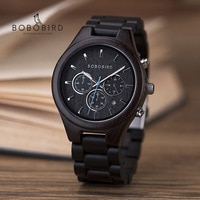 Эбеновые часы BOBO BIRD для мужчин, роскошные деревянные многофункциональные наручные часы с хронографом и датой, отличный подарок в коробке