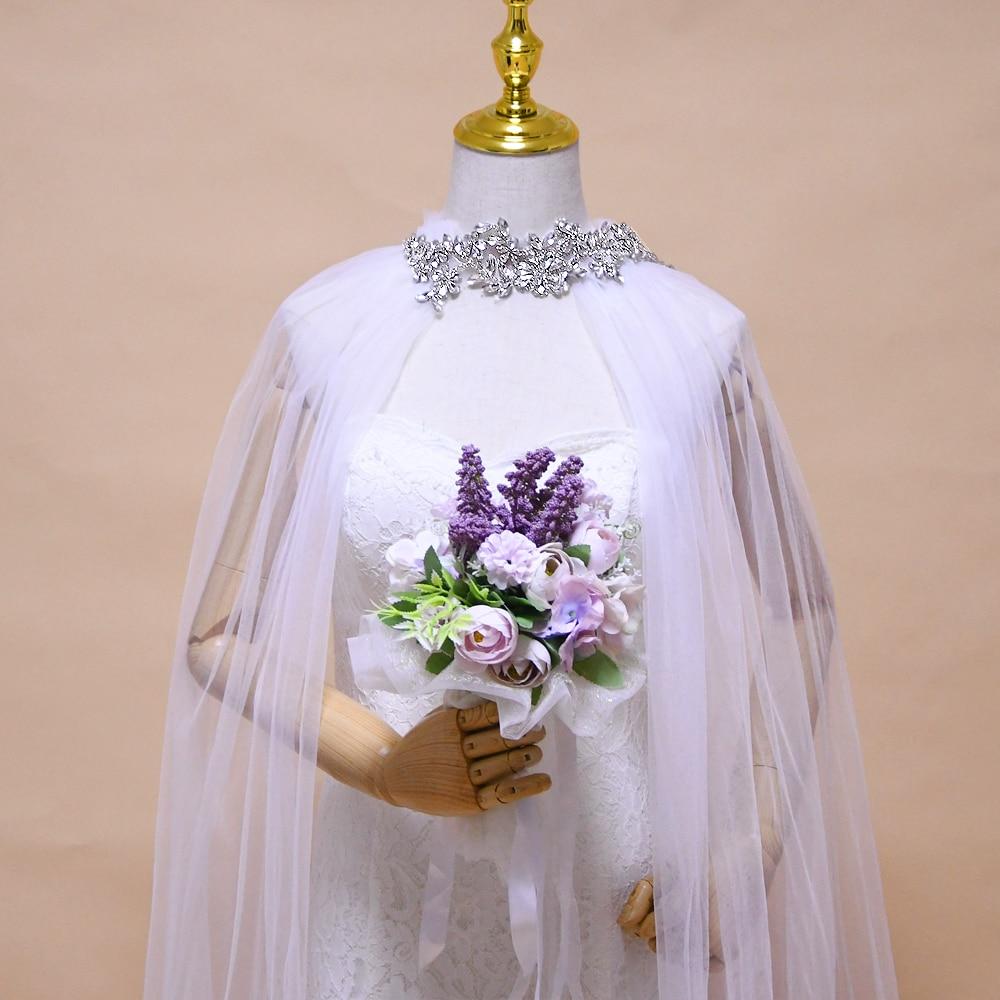 TRiXY G22 роскошные стразы с аппликацией, Длинные свадебные накидки, элегантные свадебные накидки, шаль, Кружевной Жакет со шлейфом, свадебная н...
