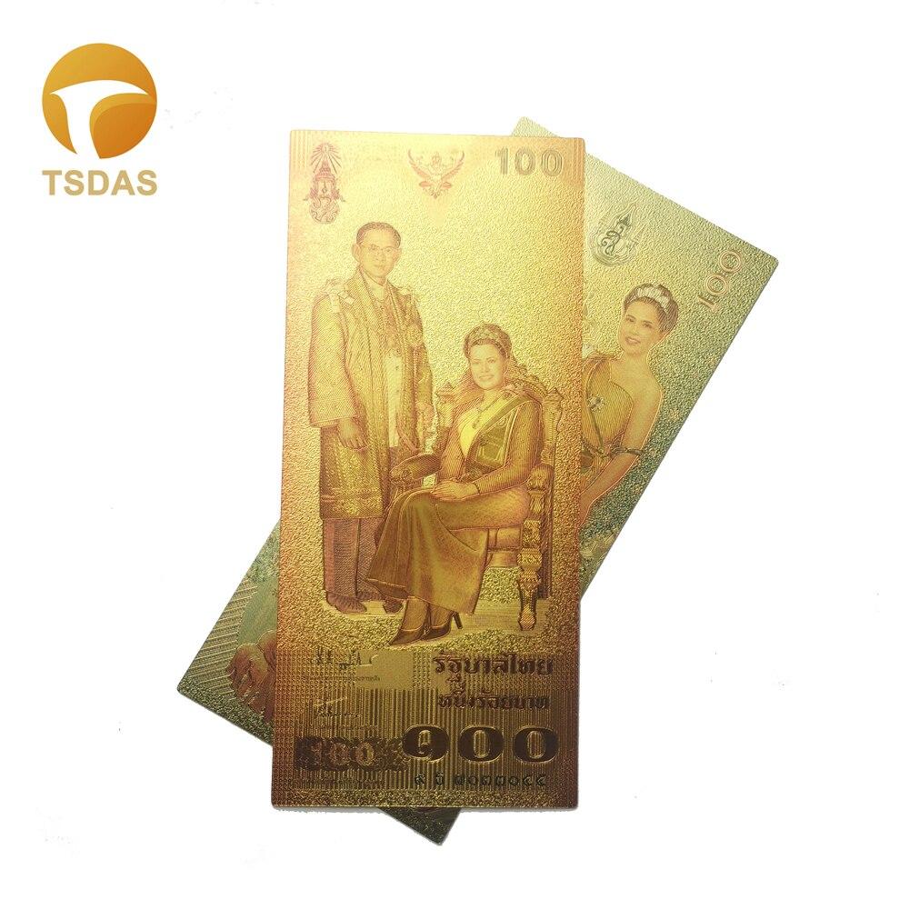 Tayland altın banknot 100 Baht altın kaplama banknot tayland altın banknot çift taraflı baskı koleksiyonu
