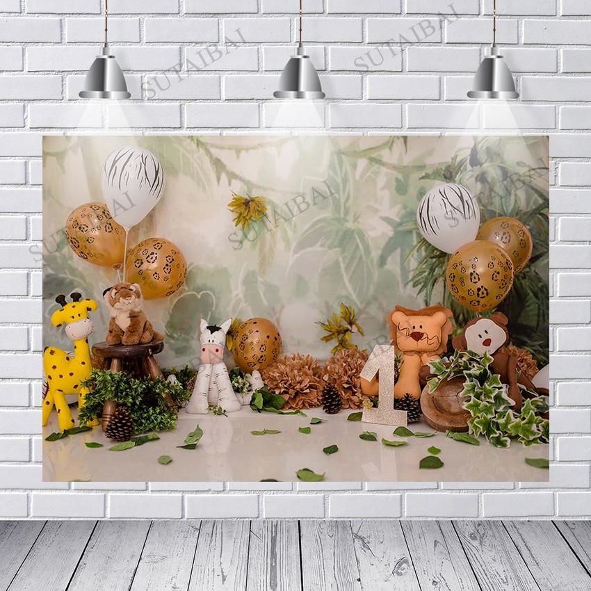 Photography Backdrop Jungle Animals Cake Smash Child Birthday Photo Booth Background Newborns Baby Shower Studio Props
