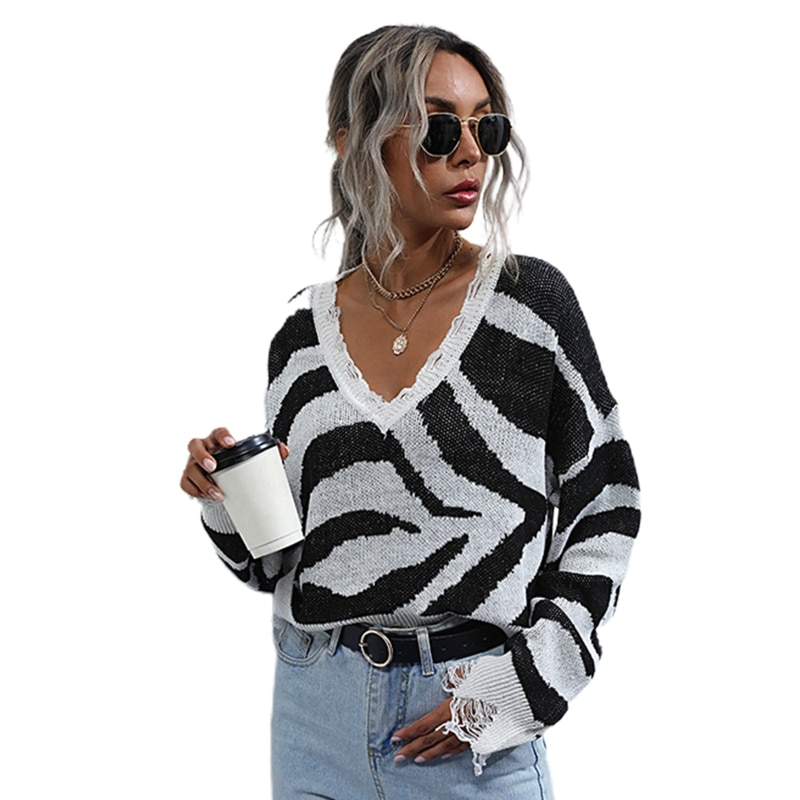 Women Long Sleeve Ripped Knit Sweater Sexy V-Neck Zebra Striped Loose Crop Top enlarge