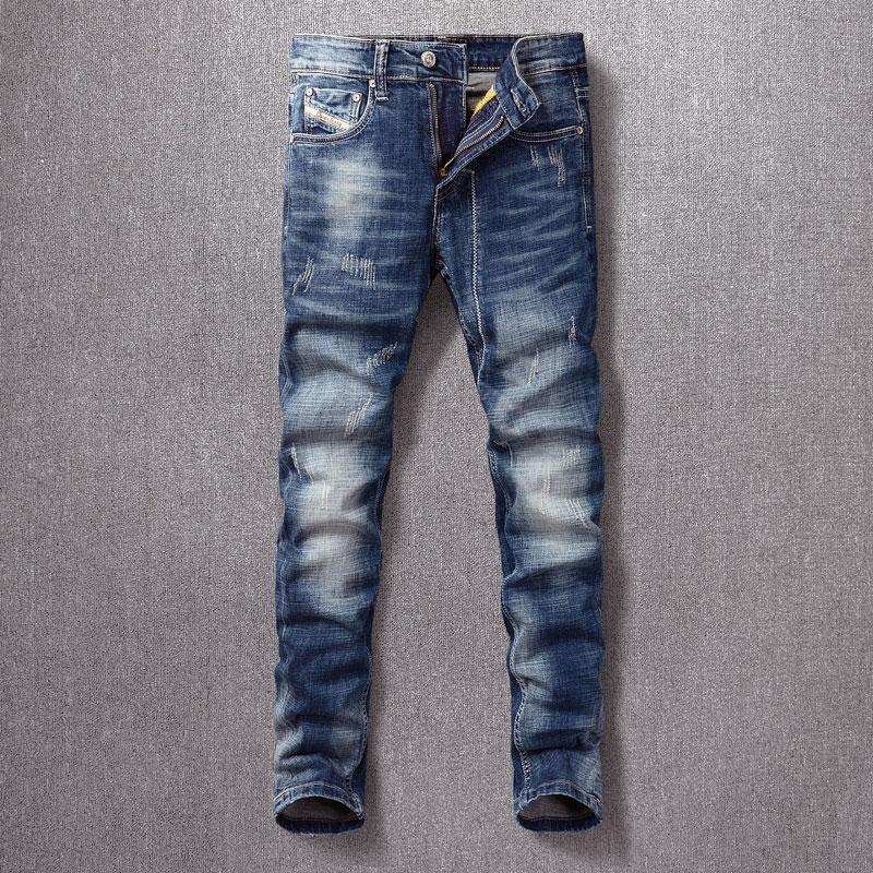 Модные мужские джинсы в итальянском стиле, синие эластичные узкие рваные джинсы в стиле ретро, мужские потертые белые винтажные дизайнерск...