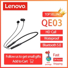 Original Lenovo QE03 V5.0 Wireless Neckband Bluetooth Earphones Sports Stereo Earbuds Magnetic Earph