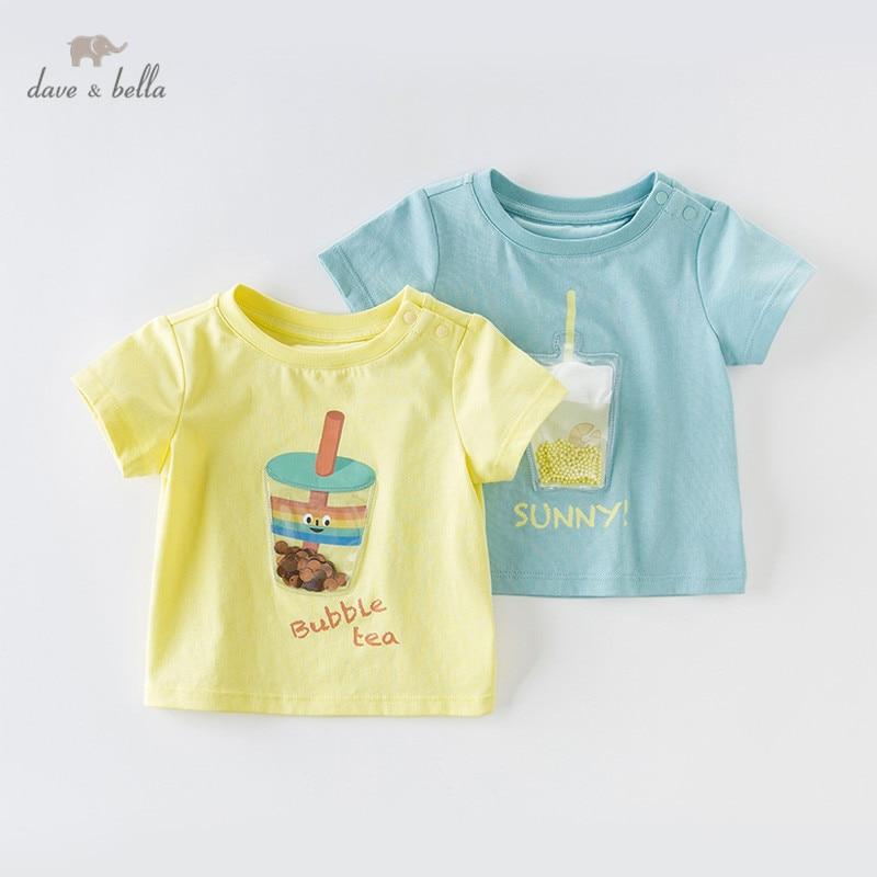 DBX13995 dave bella, camiseta de moda de verano para niños y bebés, camiseta de alta calidad para niños y bebés, ropa de algodón estampada