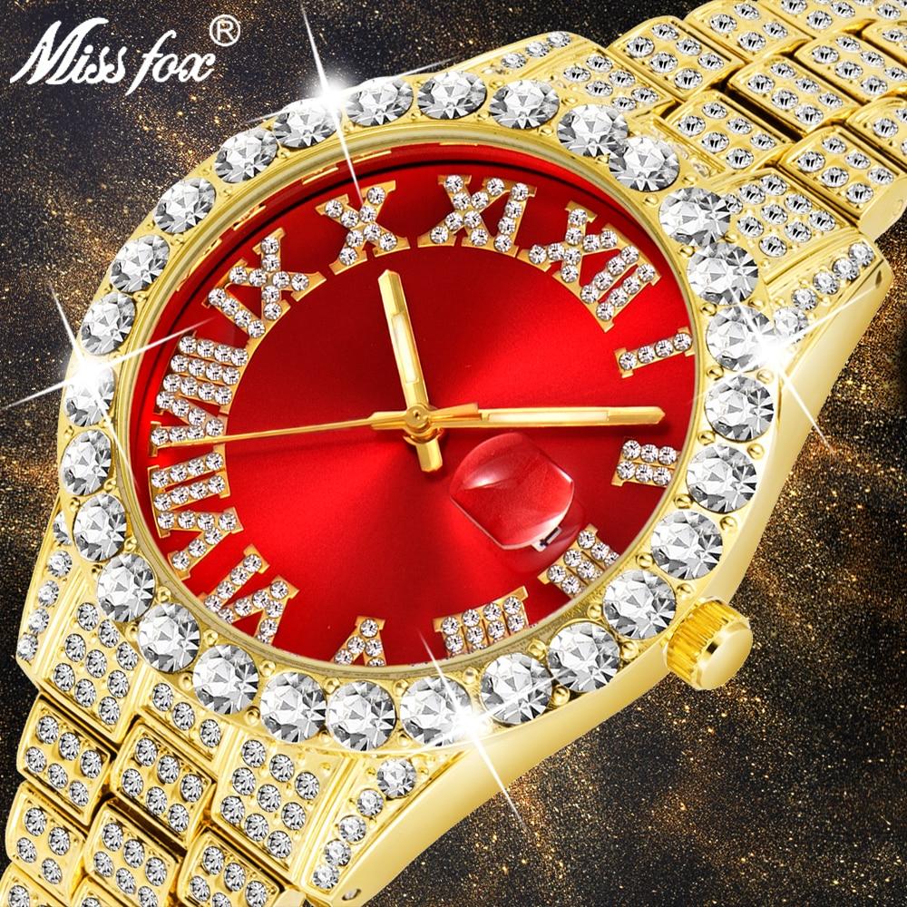 MISSFOX-ساعة كوارتز أنالوج للرجال ، مجوهرات ذهبية عيار 18 قيراط ، مقاومة للماء ، حمراء ، ألماس حديث ، علامة تجارية فاخرة ، 2020