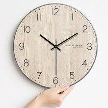Moderne minimaliste horloge murale salon en bois horloge murale nordique Quartz horloge murale suspendus Table créative chambre muet horloge