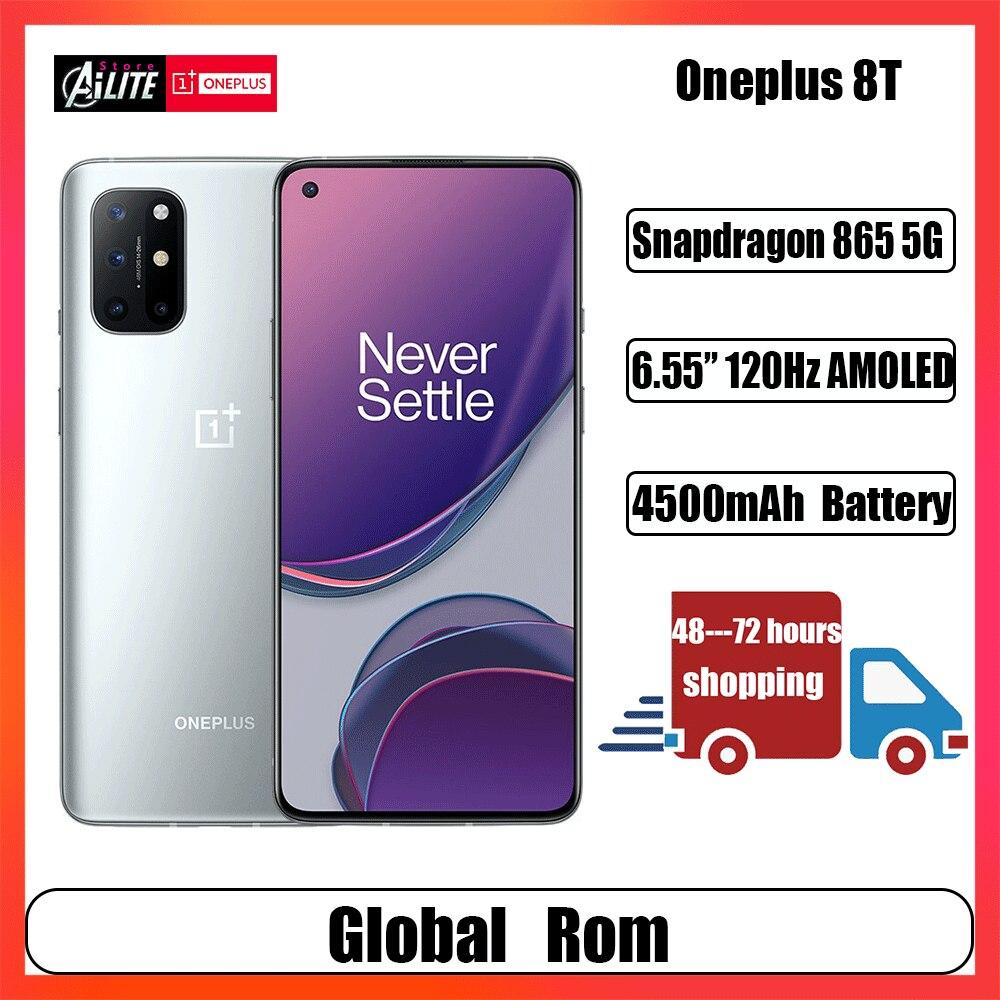 OnePlus 8T Global Rom 8T Smartphone KB2000 120Hz Fluid AMOLED Display 5G 48MP Quad Camera Snapdragon 865 Octa Core 65W