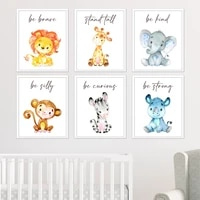 nursery prints cartoon animal posters inspirational quote giraffe lion be brave canvas painting baby kids room wall art picture