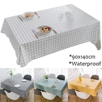 pvc tablecloth waterproof oilproof modern geometry grid painting kitchen dining table cloth cover home party decoration