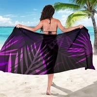 purple leaves sarong 3d printed towel summer seaside resort casual bohemian style beach towel