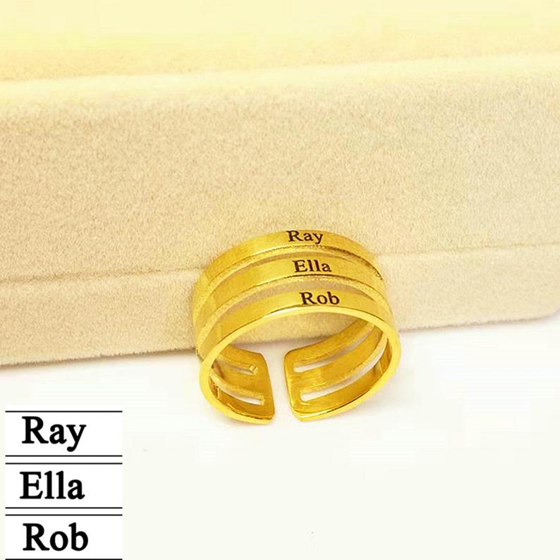 Personalized Three Name Ring Custom Triplet Name Band Rings Three Layered Ring for Family Adjustable Rings Personalize Jewelry freeshipping personalized carrie style two finger silver name rings couples name ring custom name jewelry