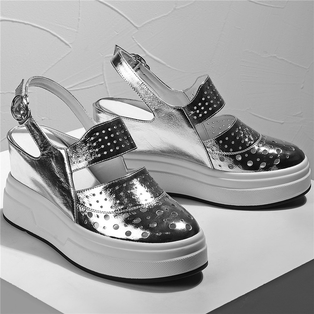 Fashion Sneakers Women Genuine Leather Wedges High Heel Pumps Shoes Female Back Strap Round Toe Gladiator Sandals Casual Shoes  - buy with discount
