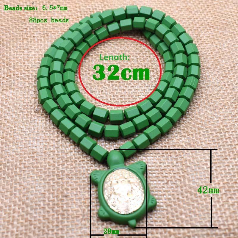 Review 20pcs New Fashion Hematite Beads Long Necklace Punk Green Tortoise Pendant Necklace for Men Jewelry Wholesale