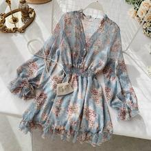 2019 new fashion women's French dress female temperament V-neck long-sleeved chiffon floral dresses