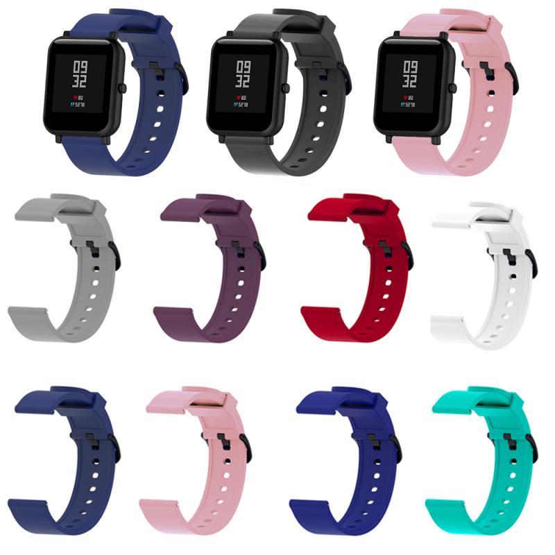 Pulseira de silicone de 9 cores, para xiaomi huami amazfit bip bit ritmo lite jovens 22mm, relógio inteligente, pulseira esportiva pulseira txtb1