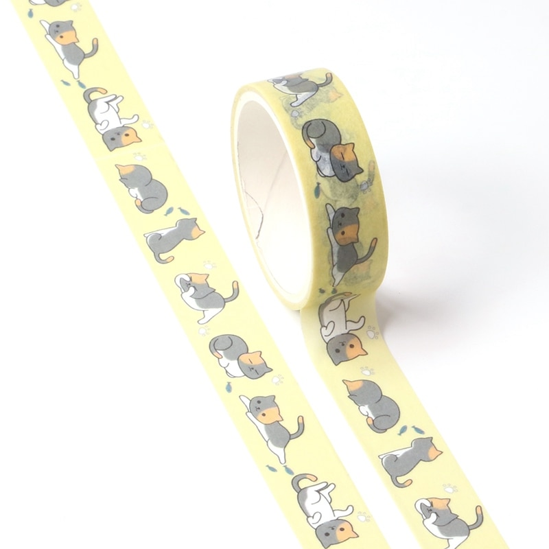Nuevo 1X lindo y encantador gato Washi Tape para DIY planificador Scrapbooking cinta adhesiva decorativa suministros de oficina escolar