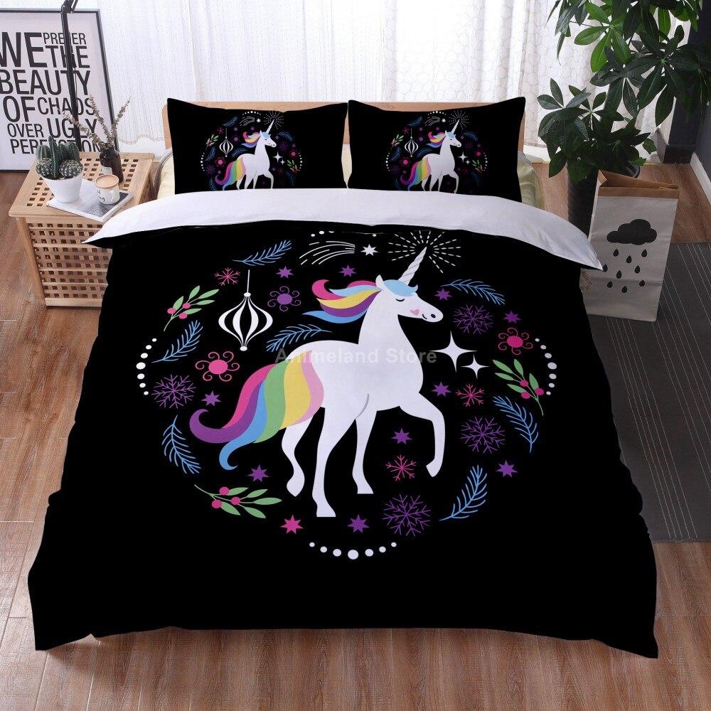 أسود يونيكورن ثلاثية الأبعاد طباعة المعزي طقم سرير الفتيات الحيوان حاف طقم أغطية المخدة التوأم كامل الملكة الملك الحجم المنسوجات المنزلية