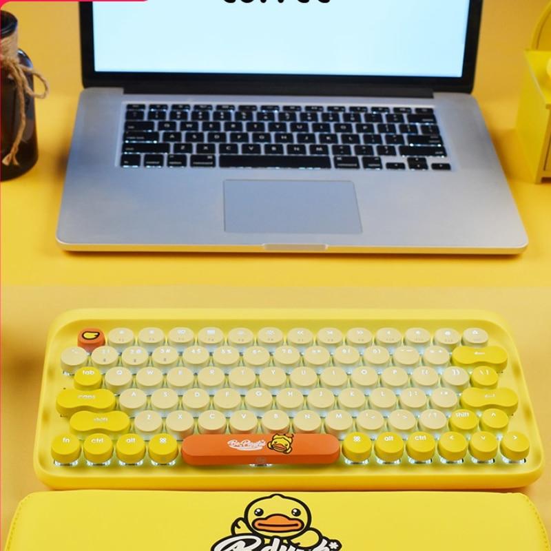 لوفي لوفي لوحة المفاتيح بطة صفراء صغيرة باد كمبيوتر محمول سماعة لاسلكية تعمل بالبلوتوث Keyclick ماوس لوحة المفاتيح الميكانيكية