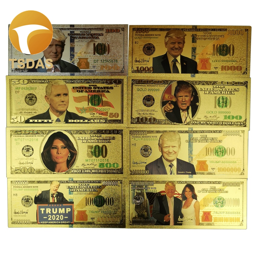 Красочные золотые банкноты США Трамп Поддельные Банкноты долларов Реплика деньги Банкноты 8 шт./лот сбор для подарка на день рождения