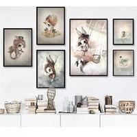 Peinture sur toile nordique pour decor de maison  affiche dart mural  lapin  filles et garcons  dessin anime  couleurs imprimees  pour chambre denfant
