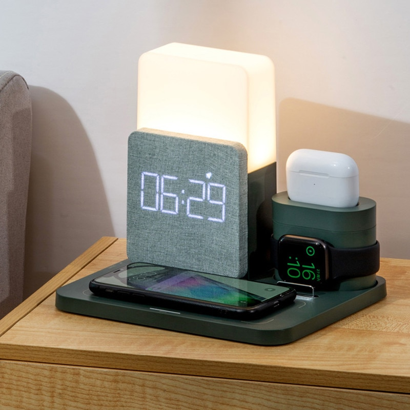 AliExpress - Fast Qi Wireless Charging Alarm Clock For Apple Iwatch Charger Desk Lamp Airpods 3 in 1 Multifunction Fast Chargers with Lamp